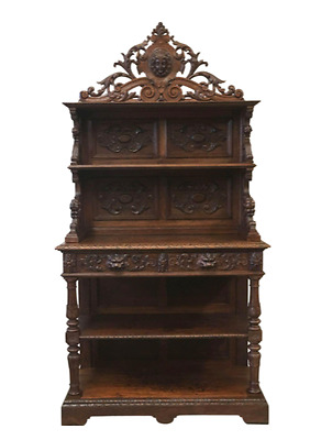 French Antique Carved Server Buffet Sideboard Cabinet