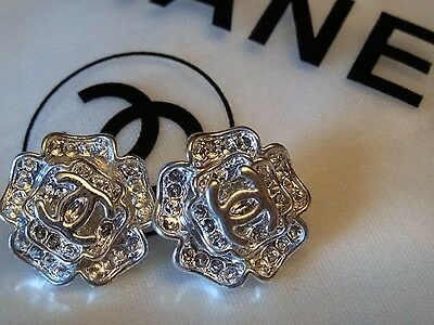 2 Replacement Chanel Camellia Silver Color Metal Buttons , 16 Mm