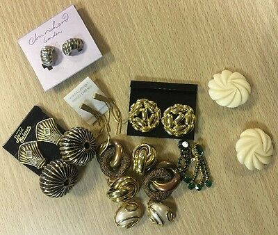 Job Lot Vintage Costume Jewellery CLIP-ON earrings on cards  99p 1 day auction!!