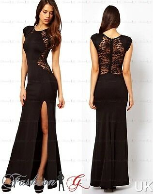 Womens Evening Dress Black Maxi Ball Gown Prom Party Formal Long Lace Size 12 14