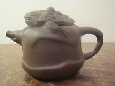 20thC CHINESE YIXING TOAD FORM TEAPOT WITH SEAL MARKS