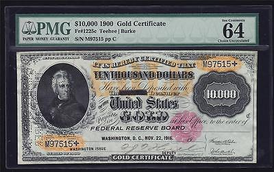 Fr. 1225c 1900 $10,000 Gold Certificate PMG 64 Choice Uncirculated