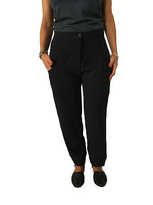 TADASHI women's trousers with elastic black 100% polyester MADE IN ITALY