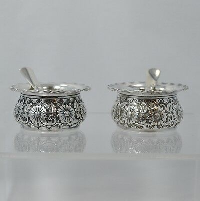 1887 Sterling Gorham Repousse Salt Cellars plus Sterling Gorham Colonial Spoons
