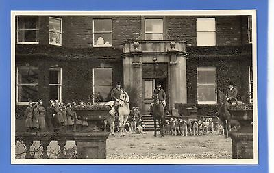 SUPERB RARE 1937c HEREFORD FOX HUNTING HUNT HOUNDS HORSE RP PHOTO POSTCARD