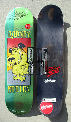 "RODNEY MULLEN autographed ALMOST Skateboard Deck 8"" MUTTLEY powell peralta RARE"