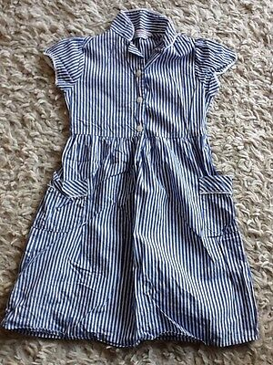 Blue And White Stripe School Dress Aged 6/7 Years