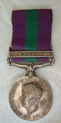 Later than WW2 George V1 General Service Malaya GSM medal Cameronians - Burnett
