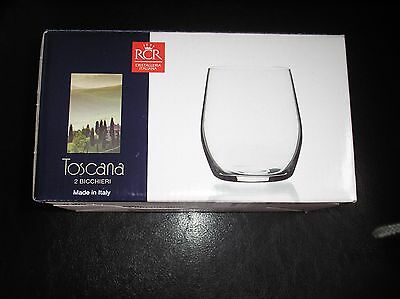 Rcr Toscana Brand New  2 Short Crystal Glass Tumblers