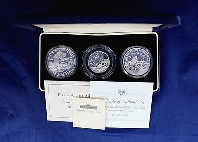 "1994 Silver Proof 3 coin collection ""Allied Invasion"" in Case with COA   (X7/18)"