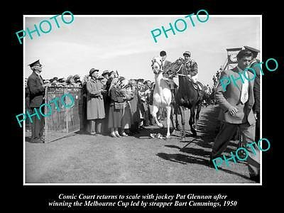 Old Large Horse Racing Photo Of Comic Court Winning The Melbourne Cup 1950