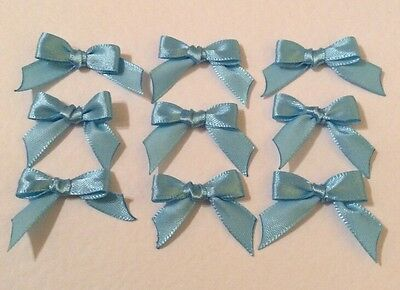 20 Pale Blue 10mm Ribbon bows �� for card making/scrap booking help charity