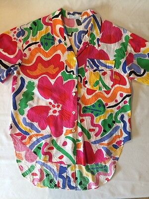 Vintage 80s Cotton Button Down Abstract Shirt L Long Hem Back