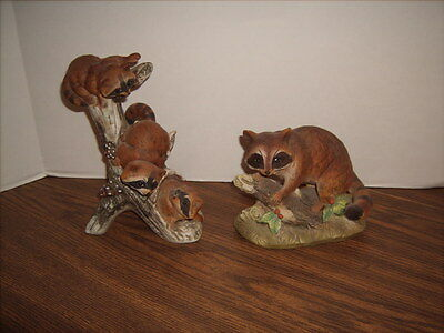 Mother Raccoon + 3 Baby Raccoons Lot of 2 Masterpiece Porcelain by Homco