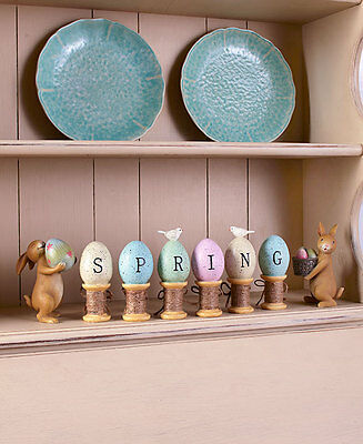 8-Pc Bunny Rabbit & Egg Figurine Set Easter Holiday Spring Decoration Home Decor