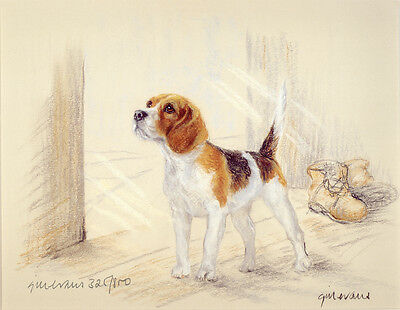 BEAGLE HOUND DOG FINE ART LIMITED EDITION PRINT - Standing by the Open Door