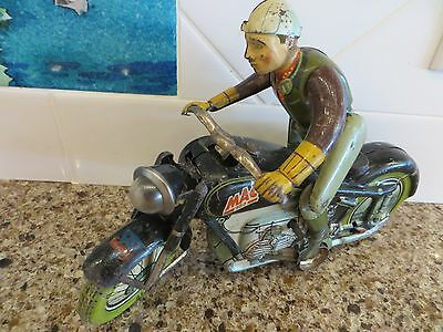 Vintage Arnold Mac 700 Wind-Up Tin Litho Motorcycle With Box & Key