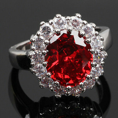 18K White Gold Filled Red Crystal Ring Fashion Jewelry Women's Gift size 7/N