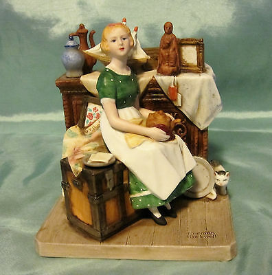 """Norman Rockwell """"DREAMS IN THE ANTIQUE SHOP"""" Lady With Cat Porcelain Figurine"""