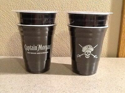 Lot of 4 NEW Captain Morgan Hard Plastic Solo Cups Rum