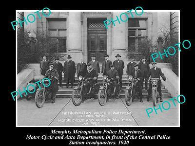 OLD LARGE HISTORIC PHOTO OF MEMPHIS TENNESSEE, POLICE MOTORCYCLE UNIT c1920