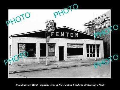 OLD LARGE HISTORIC PHOTO OF BUCKHANNON WEST VIRGINIA, THE FORD DEALERSHIP c1960