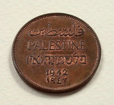 Scarce Palestine 1942 2 Mils Coin - Nice Uncirculated Coin @ No Reserve
