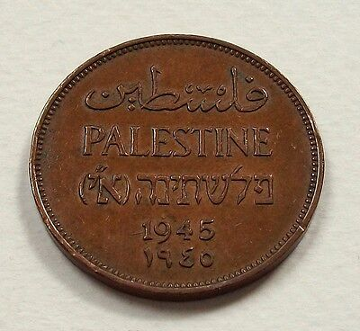 Scarce Palestine 1945 2 Mils Coin - Nice High Grade Coin @ No Reserve