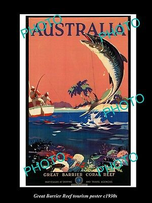 OLD LARGE HISTORIC PHOTO OF 1930s AUSTRALIAN GREAT BARRIER REEF FISHING POSTER