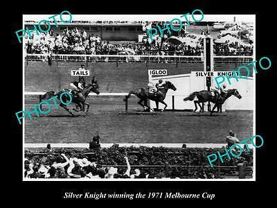 Old Large Horse Racing Photo Of Silver Knight Winning The 1971 Melbourne Cup