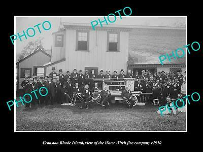Old Large Historic Photo Of Cranston Rhode Island, Water Witch Fire Crew 1910