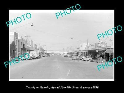 OLD LARGE HISTORIC PHOTO OF TRARALGON VICTORIA, VIEW OF FRANKLIN & STORES c1950