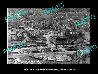 OLD LARGE HISTORIC PHOTO OF DUNSMUIR CALIFORNIA, AERIAL VIEW OF THE TOWN c1920
