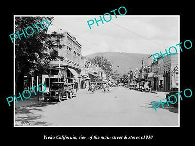 OLD LARGE HISTORIC PHOTO OF YREKA CALIFORNIA, THE MAIN STREET & STORES c1930 2