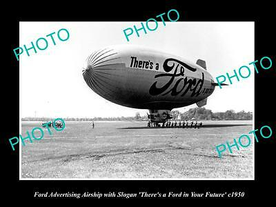 OLD LARGE HISTORIC PHOTO OF THE FORD MOTORS ADVERTISING AIRSHIP c1950