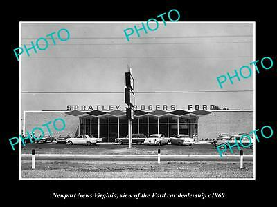 OLD LARGE HISTORIC PHOTO OF NEWPORT NEWS VIRGINIA, THE FORD CAR DEALERSHIP c1960