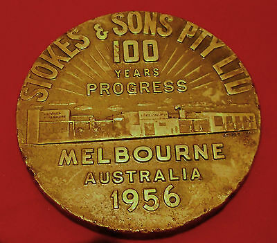 100 Years Progress Industry Is Life 1956 Large Medal.stokes & Sons