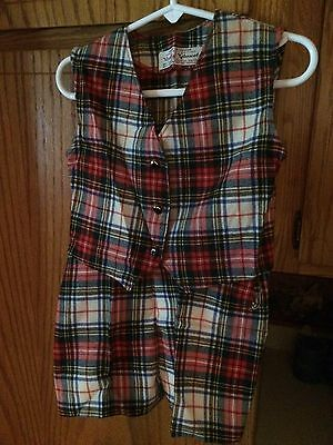 Vintage 40s 50s Viyella Child's Outfit Scotch Plaid Sz 2 Red Holiday