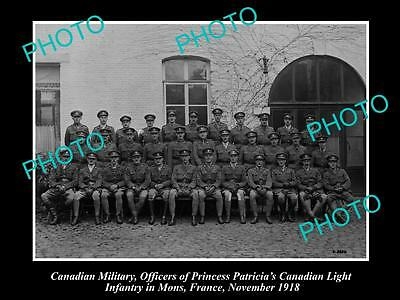 Old Large Historic Photo Of Canadian Army Wwi, Light Infantry Officers, 1918