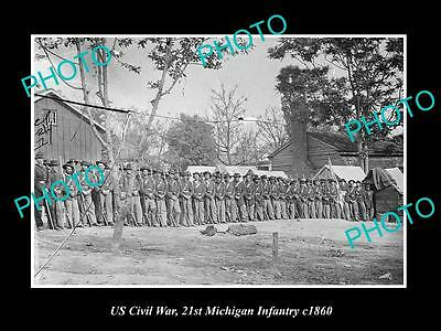 US CIVIL WAR LARGE HISTORIC PHOTO OF THE 21st MICHIGAN INFANTRY c1860