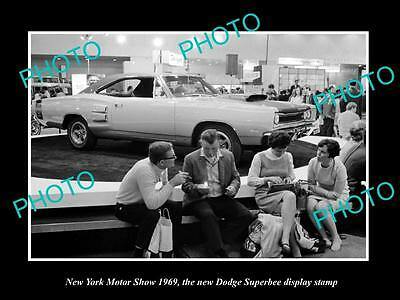 Old Large Historic Photo Of New York Motor Show 1969 Dodge Superbee Car Display
