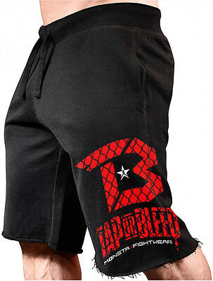Monsta Fightwear Tap or Bleed Long Sweat Shorts For Lifting: Black / Red