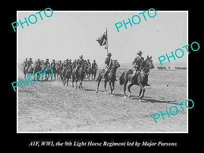 OLD LARGE HISTORIC PHOTO OF AIF ANZAC SOLDIERS OF THE 9th LIGHT HORSE c1916 WWI
