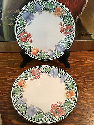 PAIR OF 2 SANGO EMERALD GARDEN SALAD PLATES (More of this design avail)