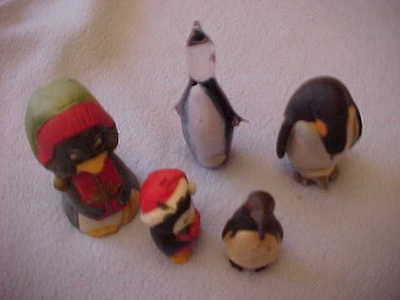 Vintage PENGUINS (5) - Christmas Bell  Ornament  Mother with Baby Bobble Glass