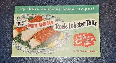 MINT VINTAGE 1956 SOUTH AFRICAN ROCK LOBSTER TAILS Recipe Booklet