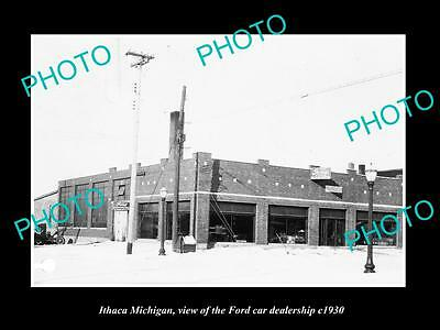 OLD LARGE HISTORIC PHOTO OF ITHACA MICHIGAN, THE FORD CAR DEALERSHIP c1930