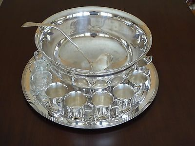Vintage Wallace Silver-plate Punchbowl set with cups, ladle, tray