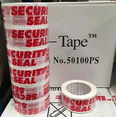 6 Rolls SECURITY SEAL 50MM X 100M 54UM EXTRA STRONG Sticky Packing Printed Tape
