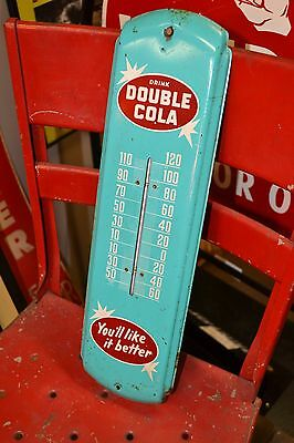 """Vintage DRINK DOUBLE COLA THERMOMETER 17"""" soda SIGN old rare Antique"""